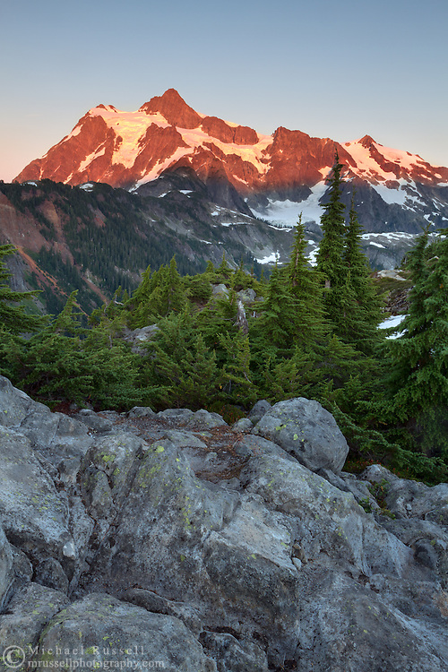 Mount Shuksan from Kulshan Ridge at the Mount Baker-Snoqualmie National Forest in Washington State, USA