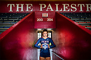University of Pennsylvania basketball player Parker Jones stands in The Palestra at the University of Pennsylvania in Philadelphia, Pennsylvania on October 9, 2019.