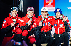 24.02.2019, Medal Plaza, Seefeld, AUT, FIS Weltmeisterschaften Ski Nordisch, Seefeld 2019, Skisprung, Herren, Teambewerb, Siegerehrung, im Bild Silbermedaillengewinner Philipp Aschenwald, Michael Hayboeck, Daniel Huber, Stefan Kraft (AUT) // Silver medalist Philipp Aschenwald Michael Hayboeck Daniel Huber Stefan Kraft of Austria during the winner ceremony for the men's skijumping Team competition of FIS Nordic Ski World Championships 2019 at the Medal Plaza in Seefeld, Austria on 2019/02/24. EXPA Pictures © 2019, PhotoCredit: EXPA/ Stefan Adelsberger