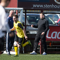 Manager Gary Jardine at the end. Edinburgh City's bench at the end. Edinburgh City became the first club to be promoted to Scottish League Two. East Stirling 0 v 1 Edinburgh City, League play-off game.