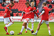 Branden Horton of Doncaster Rovers (35) warming up with team mates during the EFL Sky Bet League 1 match between Doncaster Rovers and Gillingham at the Keepmoat Stadium, Doncaster, England on 20 October 2018.