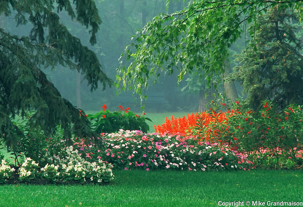 Gardens in urban park . St. Vital Park<br />Winnipeg<br />Manitoba<br />Canada