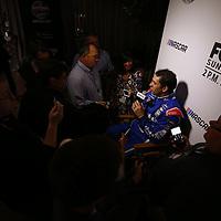 Daytona Beach, FL - Feb 22, 2017: Elliott Sadler (1) meet with the media during the annual Daytona 500 Media Day at the Daytona International Speedway in Daytona Beach, FL.