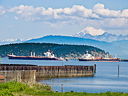 """Mount Baker (10,775 feet elevation) rises in the North Cascades 40 miles away from oil tankers in Anacortes, on Fidalgo Island in Skagit County, Washington, USA. Anacortes is known for its Washington State Ferries terminal serving San Juan Islands, Guemes Island, and Victoria via Sidney, British Columbia. """"Anacortes"""" is a consolidation of the name Anna Curtis, who was the wife of early Fidalgo Island settler Amos Bowman."""