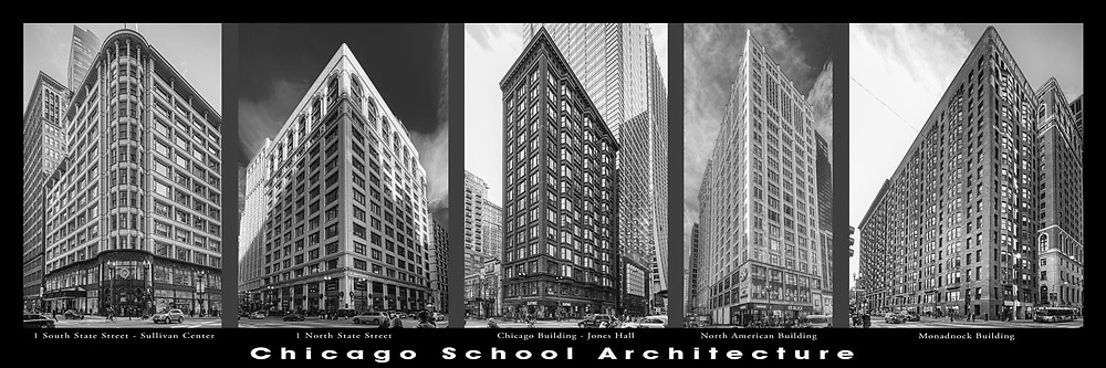 Chicago architecture.  Downtown. Chicago School architectural examples. Chicago's first towers and high rises..  Digital photography. Exterior Architectural Photography. Buildings, locations, architecture. Chicago, Illinois, built landscape,