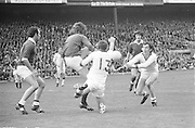 All Ireland Senior Football Championship Final, Cork v Galway, 23.09.1973, 09.23.1973, 23rd September 1973, Cork 3-17 Galway 2-13, 23091973AISFCF, ..Galway keeper G Mitchell tries to get in a clearance despite the efforts of Jimmy Barry Murphy of Cork and D Barron of Cork,