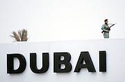 Armed guard for VIP arrival at Dubai International airport