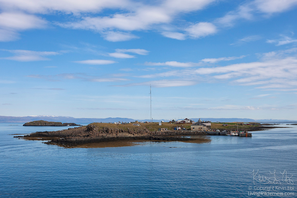Flatey Island is the largest of the approximately 40 western islands in Breiðafjörður, Iceland. Flatey, which means flat in Icelandic, is about two kilometers by one kilometer, and has only five year-round residents.