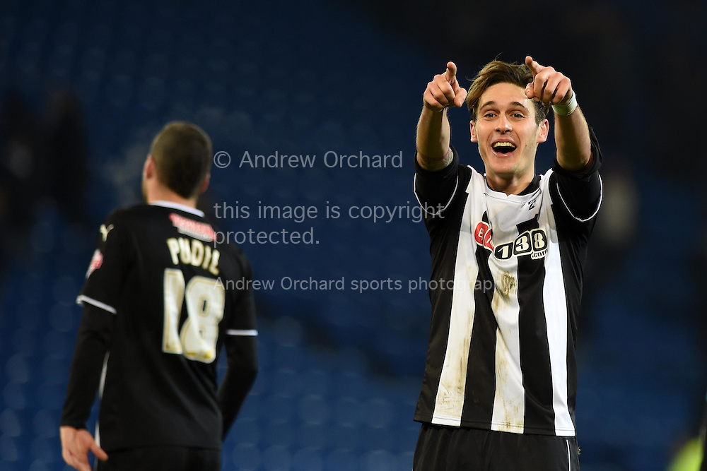Watford's Gabriele Angella  celebrates at the final whistle after the teams 2-4 win in which he scored his teams 4th goal.   Skybet football league championship match, Cardiff city v Watford at the Cardiff city stadium in Cardiff, South Wales on Sunday 28th December 2014<br /> pic by Andrew Orchard, Andrew Orchard sports photography.