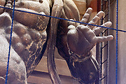 hand detail of Agyo, one of two Nio gate guardians at the entrance to The Great Buddha temple in Nara