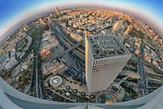 Aerial fisheye view of Tel Aviv, Israel Looking North Azrieli Tower in the centre