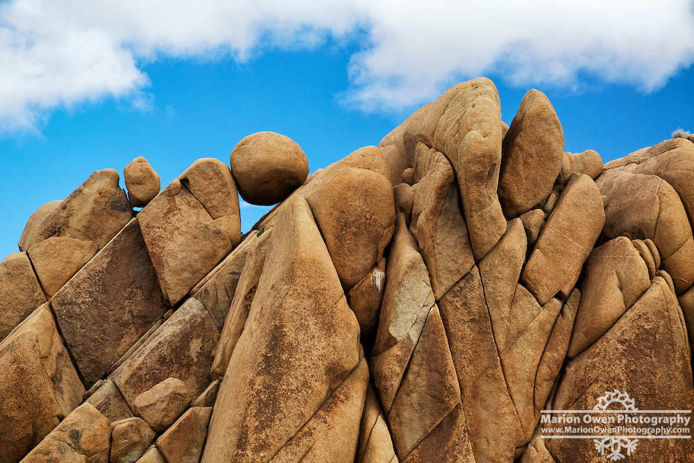 Great heaps of boulders are eroded in fantastic formations in Joshua Tree National Park.