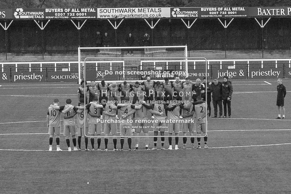 BROMLEY, UK - NOVEMBER 09: Bothe teams and match officials observe a minutes silence before the BetVictor Isthmian Premier League match between Cray Wanderers and Cheshunt at Hayes Lane on November 9, 2019 in Bromley, UK. <br /> (Photo: Jon Hilliger)