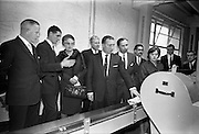 26/09/1962<br /> 09/26/1962<br /> 26 September 1962<br /> Opening of Earl Bottlers Ltd. at South Earl Street, Dublin. Minister for Justice Charles Haughey opened the new premises that produced Sandyman port among other drinks. Mr Haughey and guests on a tour of the plant.