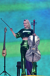 Grace Chatto from Clean Bandit during Capital's Summertime Ball with Vodafone at Wembley Stadium, London. This summer's hottest artists performed live for 80,000 Capital listeners at Wembley Stadium at the UK's biggest summer party. Performers included Camila Cabello, Shawn Mendes, Rita Ora, Charlie Puth, Jess Glyne, Craig David, Anne-Marie, Rudimental, Sean Paul, Clean Bandit, James Arthur, Sigala, Years & Years, Jax Jones, Raye, Jonas Blue, Mabel, Stefflon Don, Yungen and G-Eazy