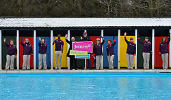 © Licensed to London News Pictures. 24/01/2013. London. Olympian Mark Foster joins Games Makers at Tooting Bec Lido for the launch of Join In 2013 which will run from 27 July to 9 September.   Set up to maximise the volunteering opportunities created by London 2012, Join In will play matchmaker between local clubs and potential volunteers and mobilise local communities to replicate the success of last summer...Local sport clubs are invited to register on www.joininuk.org to run events and open days and   Games Makers will today receive an email from Join In patron Eddie Izzard urging them to dust off the purple and red and sign up, one year on, for a summer of local Games Making . Photo credit : Justin Setterfield.