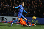 AFC Wimbledon striker Joe Pigott (39) battles for possession during the EFL Sky Bet League 1 match between AFC Wimbledon and Southend United at the Cherry Red Records Stadium, Kingston, England on 24 November 2018.