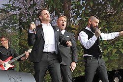 © Licensed to London News Pictures. 13/07/2014, UK. Mikey Graham, Ronan Keating & Shane Lynch. Boyzone, play British Summer Time at Hyde Park, London UK, 13 July 2014. Photo credit : Brett D. Cove/Piqtured/LNP