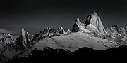 Mt. Fitzroy at sunrise in Patagonia, Argentina black and white photograph