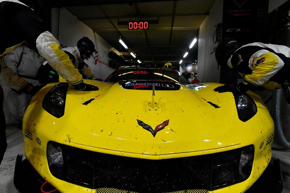 #64 Corvette Racing Chevrolet Corvette C7.R: Oliver Gavin, Tommy Milner, Marcel Fassler, crew<br /> Thursday 14 June 2018<br /> 24 Hours of Le Mans<br /> 2018 24 Hours of Le Mans<br /> Circuit de la Sarthe  FR<br /> World Copyright: Scott R LePage
