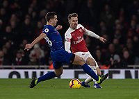 Football - 2018 / 2019 Premier League - Arsenal vs. Chelsea<br /> <br /> Cesar Azpilicueta (Chelsea FC)  closes down Aaron Ramsey (Arsenal FC) a transfer target of many teams this January at The Emirates.<br /> <br /> COLORSPORT/DANIEL BEARHAM