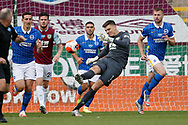 Nick Pope of Burnley (1) clears the ball during the Premier League match between Burnley and Brighton and Hove Albion at Turf Moor, Burnley, England on 26 July 2020.