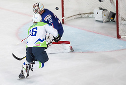 Ales Music of Slovenia vs Cristobal Huet of France during the 2017 IIHF Men's World Championship group B Ice hockey match between National Teams of France and Slovenia, on May 15, 2017 in AccorHotels Arena in Paris, France. Photo by Vid Ponikvar / Sportida