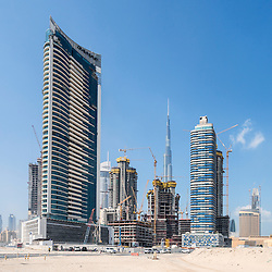 Construction sites of new high-rise luxury apartment towers in Dubai United Arab Emirates