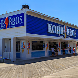 Ocean City, MD / USA - May 26, 2018: Kohr Bros Ice Cream is an iconic soft ice cream vendor located on the Ocean City boardwalk.