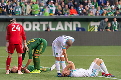 November 4, 2018 - Portland, OR, U.S. - PORTLAND, OR - NOVEMBER 04: Portland Timbers midfielder David Guzmán (20) and Seattle Sounders Gustav Svensson (4) during the Portland Timbers first leg of the MLS Western Conference Semifinals against the Seattle Sounders on November 04, 2018, at Providence Park in Portland, OR. (Photo by Diego Diaz/Icon Sportswire) (Credit Image: © Diego Diaz/Icon SMI via ZUMA Press)
