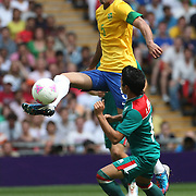Sandro, Brazil, in action during the Brazil V Mexico Gold Medal Men's Football match at Wembley Stadium during the London 2012 Olympic games. London, UK. 11th August 2012. Photo Tim Clayton