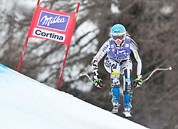 20.01.2011, Tofana, Cortina d Ampezzo, ITA, FIS World Cup Ski Alpin, Lady, Cortina, Abfahrt 2. Training, im Bild Blick von den Tribühnen im Bild Julia Mancuso (USA, #10) // Julia Mancuso (USA) during FIS Ski Worldcup ladies downhill second training at pista Tofana in Cortina d Ampezzo, Italy on 20/1/2011. EXPA Pictures © 2011, PhotoCredit: EXPA/ J. Groder