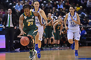 April 4, 2016; Indianapolis, Ind.; Keiahnna Engel runs up the court on a fast break in the NCAA Division II Women's Basketball National Championship game at Bankers Life Fieldhouse between UAA and Lubbock Christian. The Seawolves lost to the Lady Chaps 78-73.