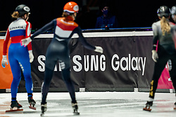 Boarding Samsung in action on 500 meter during ISU World Short Track speed skating Championships on March 05, 2021 in Dordrecht