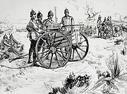British forces using double and single nachine guns on a training exercise. Engraving 1890.