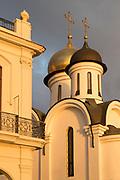 Arches and towers on Sacra Iglesia Catedral Ortodoxa de San Nicolas cathedral at sunset, Havana, Cuba