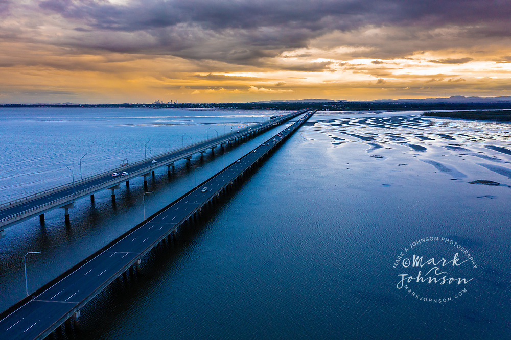 Aerial view of the Houghton Highway Bridge from Sandgate to Redcliffe, Moreton Bay, Queensland, Australia