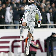 Fenerbahce's goalkeeper Volkan DEMIREL celebrate victory during their Turkish Superleague Derby match Besiktas between Fenerbahce at the Inonu Stadium at Dolmabahce in Istanbul Turkey on Sunday, 20 February 2011. Photo by TURKPIX