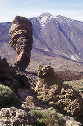 Roques de Garcia; Las Canadas; Mount Teide in Tenerife; Canary Islands; which is large rock outcrop in bleak volcanic area,