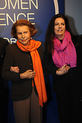 File photo - Liliane Bettencourt and her daughter Francoise Bettencourt-Meyers are pictured during a ceremony of 2011 L'Oréal-UNESCO For Women in Science Awards at l'Unesco headquarter in Paris France on March 3, 2011. Five exceptional women scientists, one from each continent, will receive the 2011 L'Oreal-UNESCO For Women in Science Awards. Liliane Bettencourt has died aged 94 it was announced on September 21, 2017. Bettencourt was the richest person in France and the third-richest woman in the world with a net worth of $40 billion. She was the sole heir to L'Oreal, the largest cosmetics company in the world, which was started by her father, and a large shareholder in Nestle. Nearly a decade ago a trial forced Liliane's personal business into the public light, laid bare her obsession with a flashy homosexual photographer whom she turned into a billionaire, destroyed her relationship with her daughter, turned a long time family butler against her, and, finally, turned the dowager heiress into even more of a recluse than she had been before. Photo by Mousse/ABACAPRESS.COM