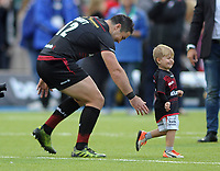 Rugby Union - 2017 / 2018 Aviva Premiership - Saracens vs. Wasps<br /> <br /> Brad Barritt of Saracens after making his 200th appearance with his son, Hunter after the match at Allianz Park.<br /> <br /> COLORSPORT/ANDREW COWIE
