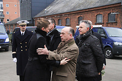 Danish Minister of Justice Mette Frederiksen (L front) meets with French Interior Minister Bernard Cazeneuve (C front) and French Ambassador to Danmark Francois Zimeray (R front) in front of at the cultural center Krudttoenden, where a man was killed and three police officer were wounded, in Copenhagen, Feb. 15, 2015. Copenhagen's police director Thorkild Fogde said at a press conference that the police have identified the alleged offender, who was killed by police early Sunday morning in the Noerrebro neighborhood in Copenhagen. EXPA Pictures © 2015, PhotoCredit: EXPA/ Photoshot/ Shi Shouhe<br /> <br /> *****ATTENTION - for AUT, SLO, CRO, SRB, BIH, MAZ only*****