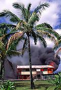 Lava burning home, Kilauea Volcano, Kalapana, Island of Hawaii, Hawaii, USA<br />
