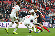 Croatia's Andrek Kramaric about to score to make it 0-1 during the UEFA Nations League match between England and Croatia at Wembley Stadium, London, England on 18 November 2018.