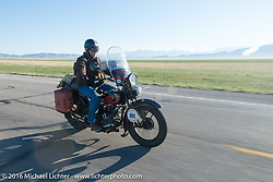 Terry Richardson riding his 1932 Harley-Davidson VL heads out of Springville, UT during stage 12 (299 m) of the Motorcycle Cannonball Cross-Country Endurance Run, which on this day ran from Springville, UT to Elko, NV, USA. Wednesday, September 17, 2014.  Photography ©2014 Michael Lichter.