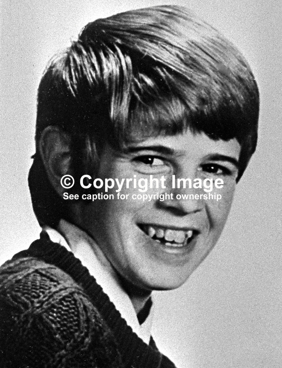 Patrick Joseph Connolly, aka Joe Connolly, aged 15 years, from Londonderry, N Ireland, UK, was one of 9 fatalities when 3 bombs exploded at intervals without warning on 31st July 1972. 197605110256, 256/76.<br /> <br /> Copyright Image from Victor Patterson, Belfast, UK<br /> <br /> t: +44 28 9066 1296 (from Rep of Ireland 048 9066 1296)<br /> m: +44 7802 353836<br /> e: victorpattersonbelfast@gmail.com<br /> <br /> www.images4media.com<br /> <br /> Please see my full Terms and Conditions of Use at https://www.images4media.com/p/terms-conditions - it is IMPORTANT that you familiarise yourself with them.<br /> <br /> Images used online incur an additional cost. This cost should be agreed in writing in advance. Online images must be visibly watermarked i.e. © Victor Patterson or that of the named photographer within the body of the image. The original metadata must not be deleted from images used online.<br /> <br /> This image is only available for the use of the download recipient i.e. television station, newspaper, magazine, book publisher, etc, and must not be passed on to a third party. It is also downloaded on condition that each and every usage is notified within 7 days to victorpattersonbelfast@gmail.com.<br /> <br /> The right of Victor Patterson (or the named photographer) to be identified as the author is asserted in accordance with The Copyright Designs And Patents Act (1988). All moral rights are asserted.
