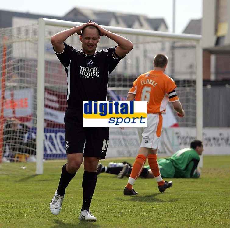 Photo: Paul Thomas.<br /> Blackpool v Swansea City. Coca Cola League 1. 15/04/2006.<br /> <br /> Swansea's Lee Trundle shows his disappiontment after his shot is saved by the Blackpool goal keeper Lee Jones.