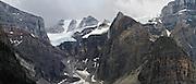 A panoramic view of Fay Glacier, across Moraine Lake, Banff National Park, Alberta, Canada.