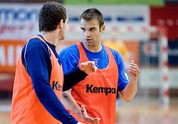 Bostjn Kavas and Matjaz Brumen at practice of Slovenian Handball Men National Team, on June 4, 2009, in Arena Kodeljevo, Ljubljana, Slovenia. (Photo by Vid Ponikvar / Sportida)