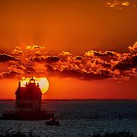 Lorain Lighthouse Orange Sunset Panorama
